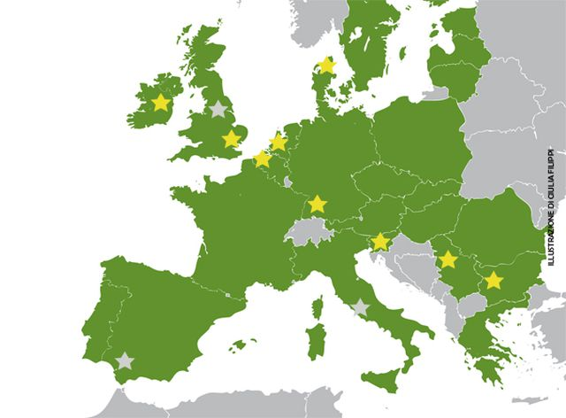 Illustrated map for the website of the European Commission.